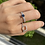Thumbnail: UnheatedBlue Sapphire and Natural Diamond in two way ring