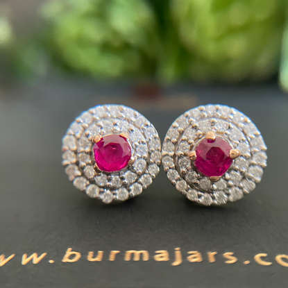 Buremse Vivid Red Unheated Ruby and diamond double Halo ring