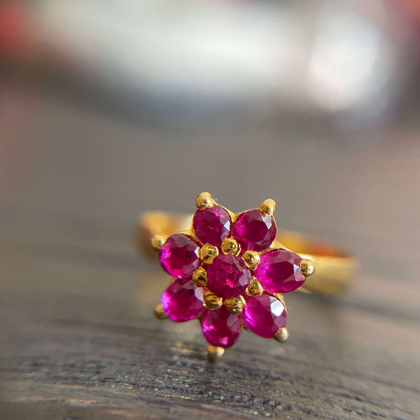 Unheated Burmese Ruby Flower Ring