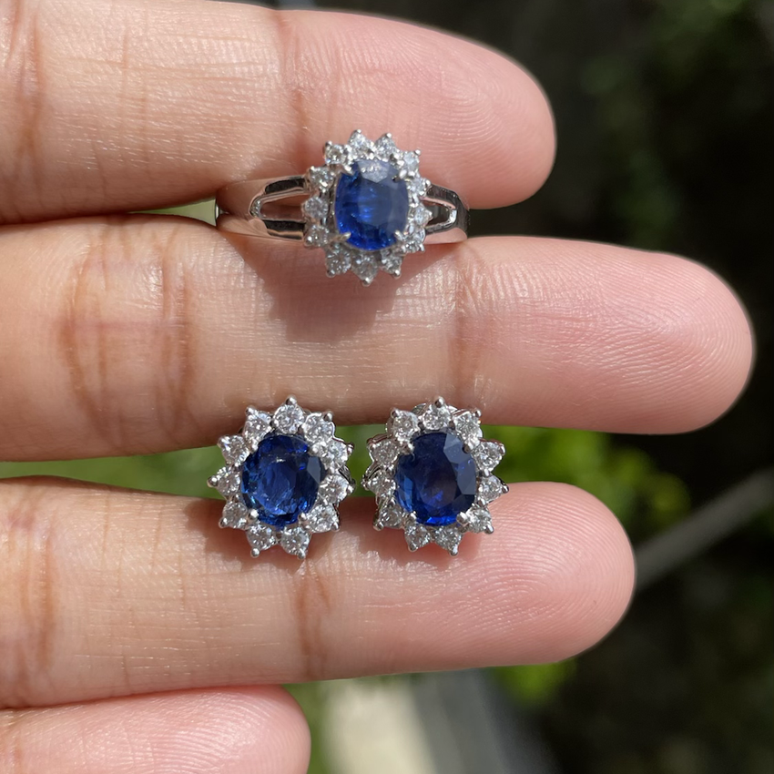 2.3Ct Burmese Unheated Sapphire Earring and Ring Set