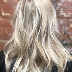 Warm platinum hair painting