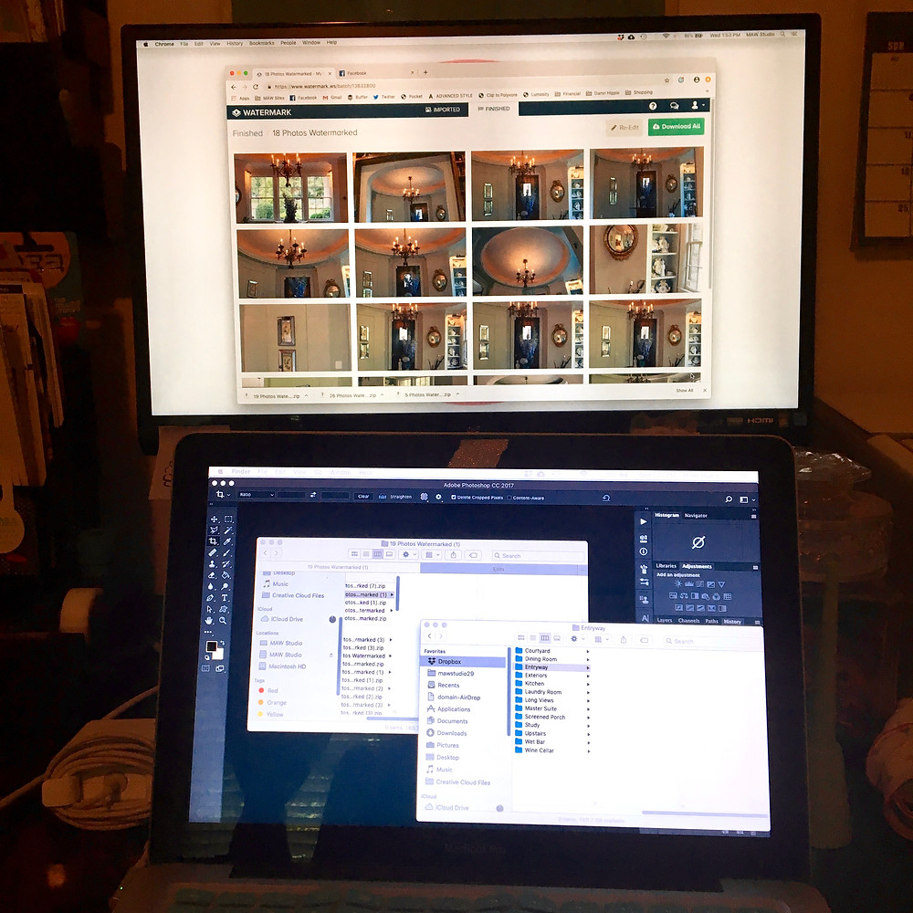 Two screens full of images, files, and the Photoshop window