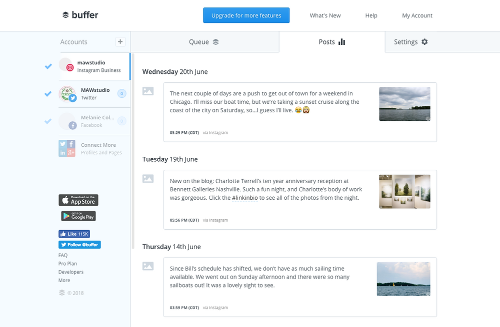 Buffer social media scheduling via MAW Studio