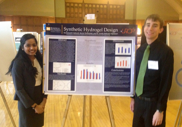 UROP students Kavinmozhi Caldwell and Steven Niedzielski present at the 2013 UROP symposium with their research project titled Synthetic Hydrogel Design.
