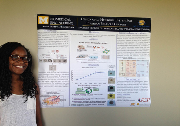 Summer UROP students Angelica Okorom and Malika Malik present at the 2013 summer UROP symposium with their research projects titled Design and Optimization of 3D Hydrogel System for Ovarian Follicle Culture.