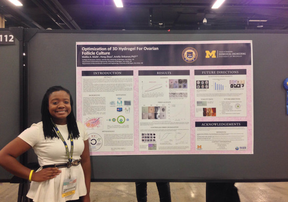 Research Assistant Malika Malik presents at the ABRCMS 2013 conference at Nashville, TN with her research project, Optimization of 3D Hydrogel for Ovarian Follicle Culture.