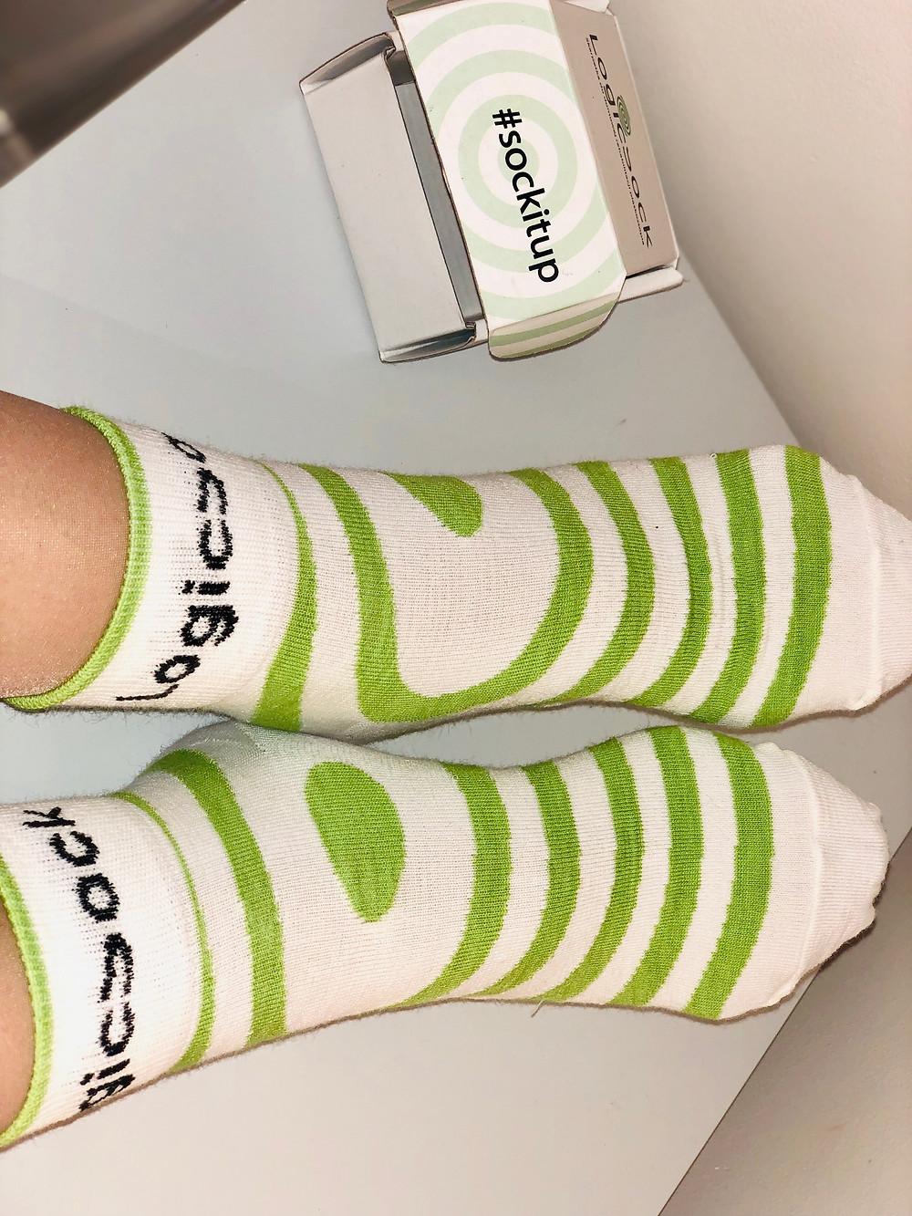 Flat Feet correction socks on the patient's feet
