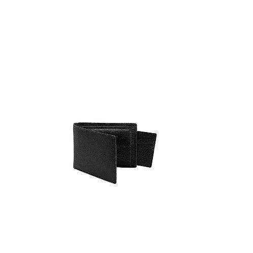 DENTS BLACK CASSLEY PEBBLE GRAIN BILLFORD WALLET/REMOVABLE CREDIT CARD HOLDER