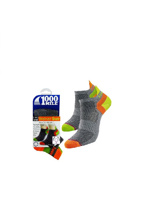1000 MILE BLACK/ORANGE DOUBLE LAYER MULTI SPORT TRAINER LINER SOCKS