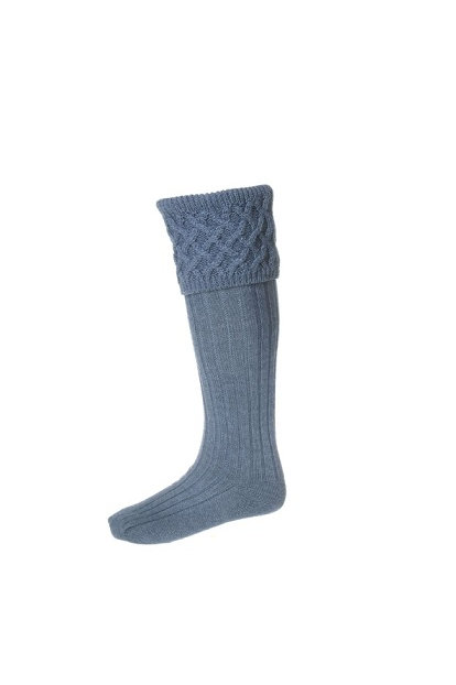 HOUSE OF CHEVIOT LADIES RANNOCH ST ANDREW BLUE SHOOTING SOCKS