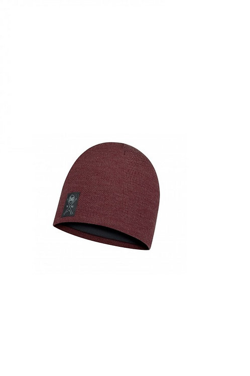 BUFF SOLID MAROON KNITTED AND POLAR HAT