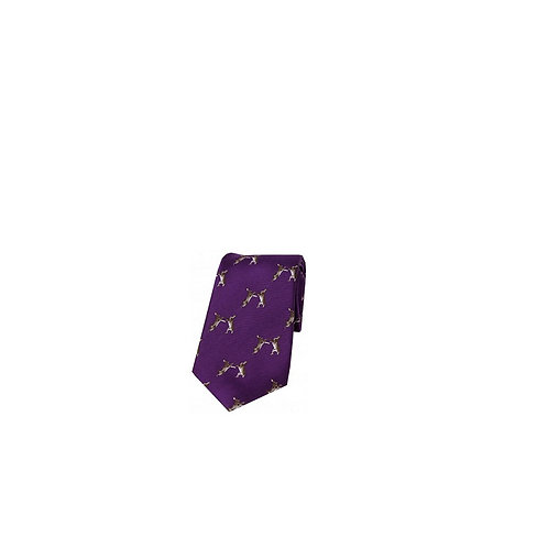 SOPRANO BOXING HARES ON PURPLE BACKGROUND COUNTRY SILK TIE
