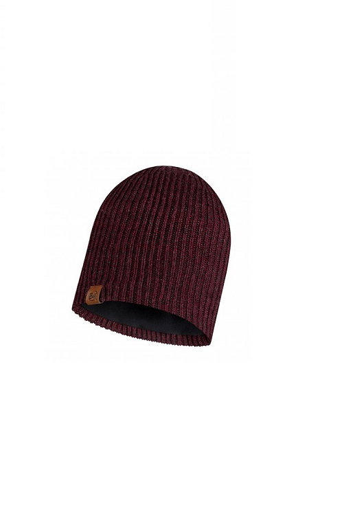 BUFF MAROON LYNE KNITTED AND POLAR HAT