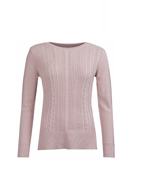 BARBOUR LADIES PALE CORAL HAMPTON KNIT SWEATER