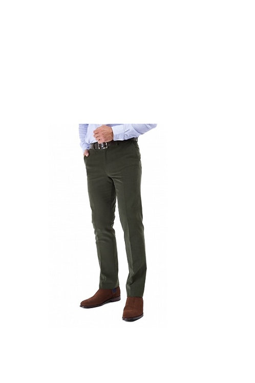 GURTEEN MENS OLIVE KINROSS BRUSHED COTTON CHINO TROUSERS