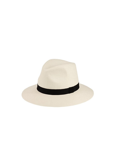 FAILSWORTH NATURAL STRAW WITH BLACK TRIM AMBASSADOR FEDORA HAT