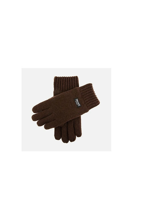 DENTS CHOCLATE BROWN DURHAM THINSULATE LINED KNITTED GLOVES