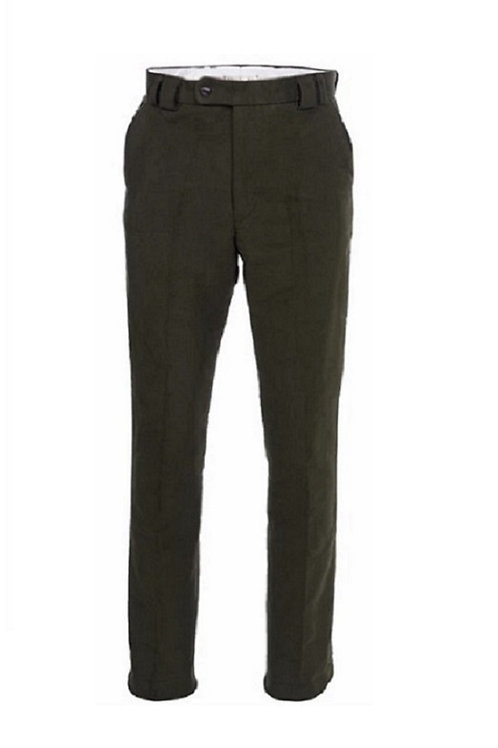 BARBOUR OLIVE TRADITIONAL FIT MOLESKIN TROUSERS