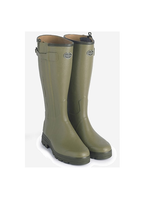 LE CHAMEAU LADIES VERT CHASSEUR CUIR WELLY BOOTS