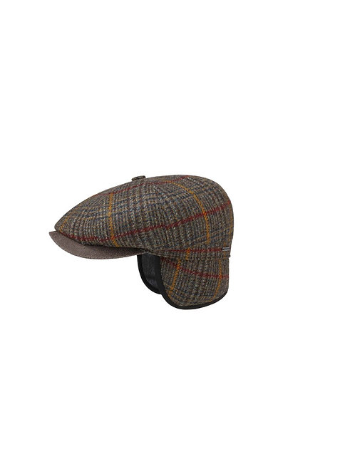 STETSON BROWN-MOTTLED (256) MINTO FLAT CAP WITH EAR FLAPS (6840328)
