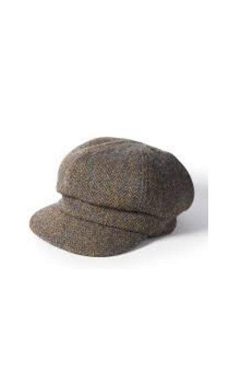 FAILSWORTH LADIES HARRIS TWEED (HT39) BROWN/BLUE BAKERBOY CAP
