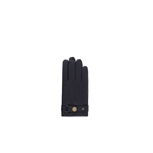 BARBOUR MENS BLACK LEATHER GLOVES