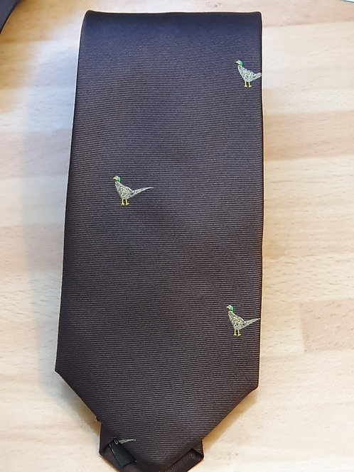 SOPRANO PHEASANT ON BROWN BACKGROUND COUNTRY SILK TIE