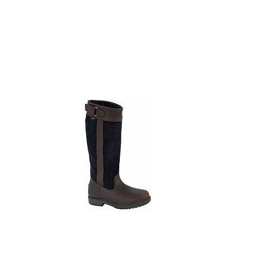 HOGGS OF FIFE  LADIES  DARK BROWN/NAVY CLEVELAND COUNTRY BOOTS