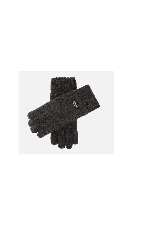 DENTS CHARCOAL GREY DURHAM THINSULATE L INED KNITTED GLOVES