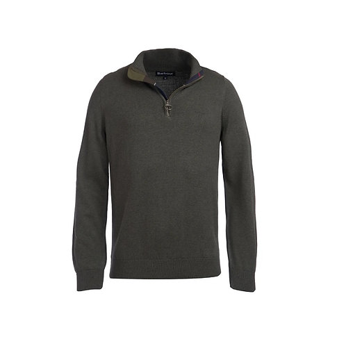 BARBOUR OLIVE MARL COTTON HALF ZIP
