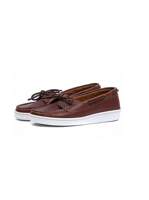 BARBOUR LADIES COGNAC LEATHER MIRANDA BOAT SHOES