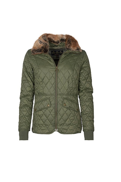 BARBOUR LADIES OLIVE/GREEN PINK CHECK HAWTHORN QUILTED JACKET