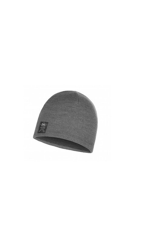 BUFF SOLID GREY KNITTED AND POLAR HAT