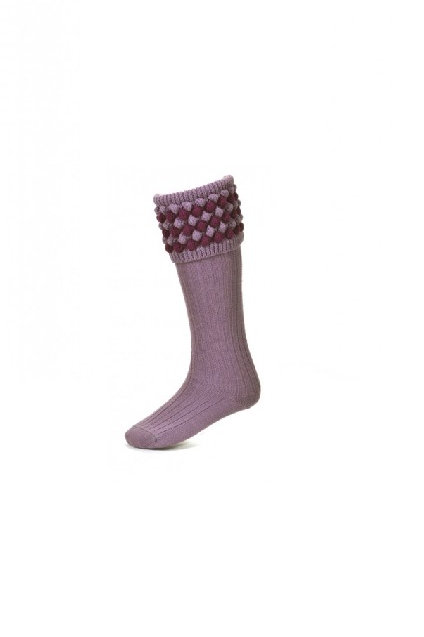 HOUSE OF CHEVIOT LADIES ANGUS LILAC/BILBERRY SHOOTING SOCKS