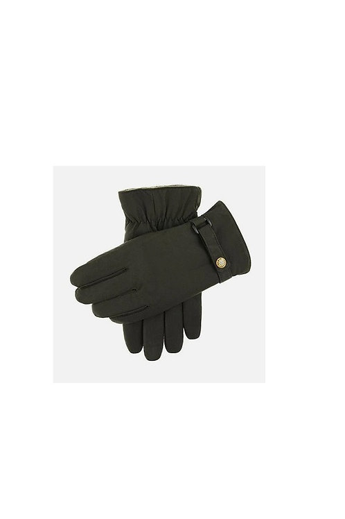DENTS OLIVE EXMOOR FLEECE LINED WAX COTTON GLOVES