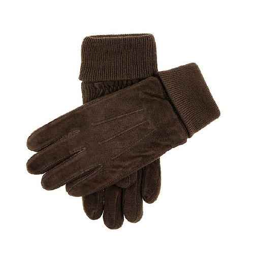 DENTS BROWN PIG SUEDE CASUAL GLOVES