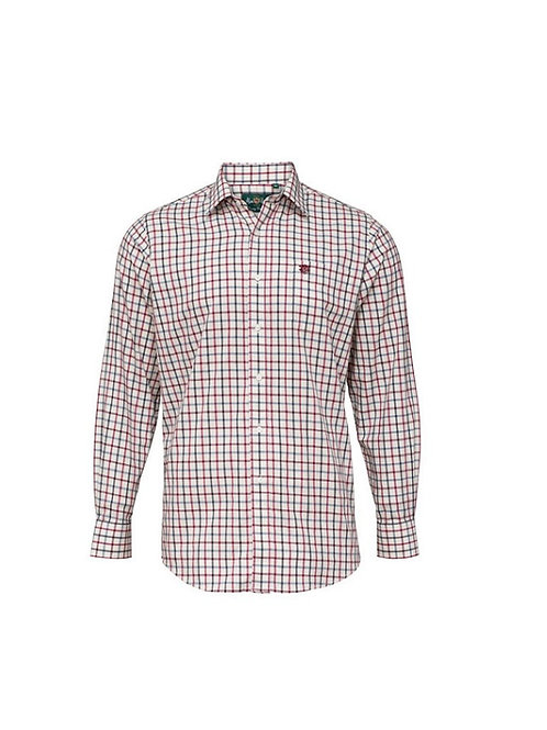 ALAN PAINE ILKLEY RED 38  COUNTRY CHECK SHIRT- SHOOTING FIT