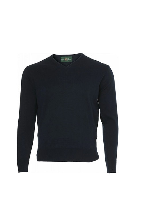 ALAN PAINE DARK NAVY MILBROCK WOOL V-NECK JUMPER- REGULAR FIT