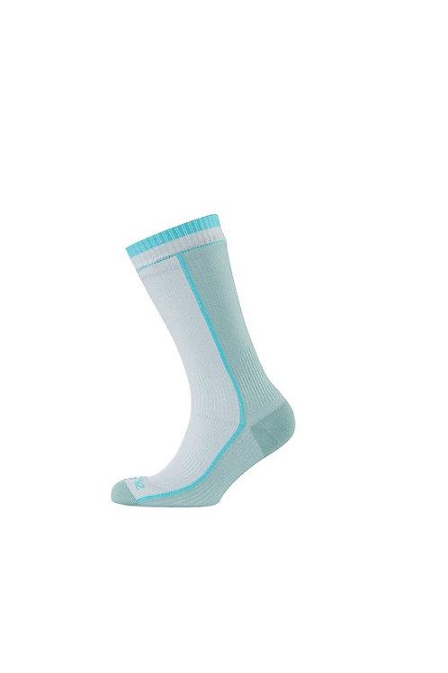 SEALSKINZ WHITE/AQUA WATERPROOF MID WEIGHT/MID LENGTH WITH MERINO SOCK
