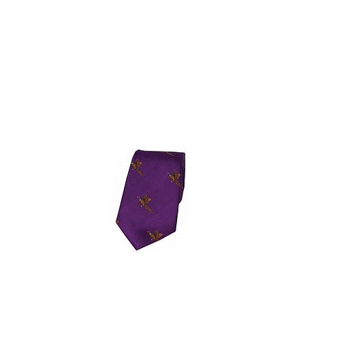 SOPRANO FLYING PHEASANT ON PURPLE BACKGROUND COUNTRY SILK TIE