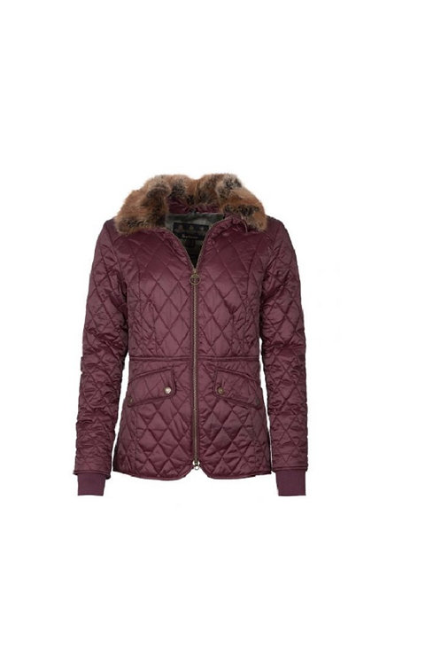 BARBOUR LADIES WINTER BLACKBERRY/GREEN PINK CHECK HAWTHORN QUILTED JACKET