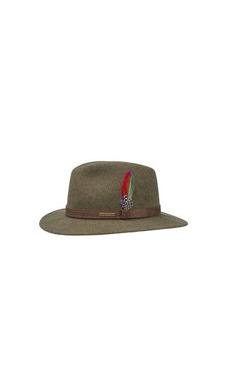 STETSON OLIVE MOTTLED (55) POWELL TRAVELLER WOOLFELT HAT (2598123)