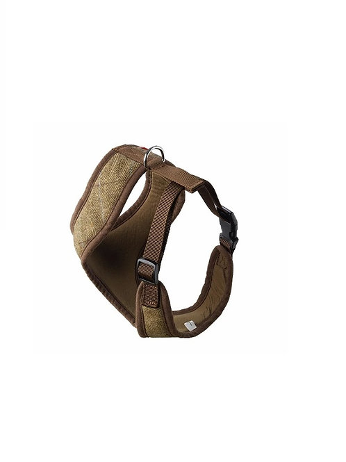 HOUSE OF PAWS BROWN TWEED MEMORY FOAM HARNESS SIZE S