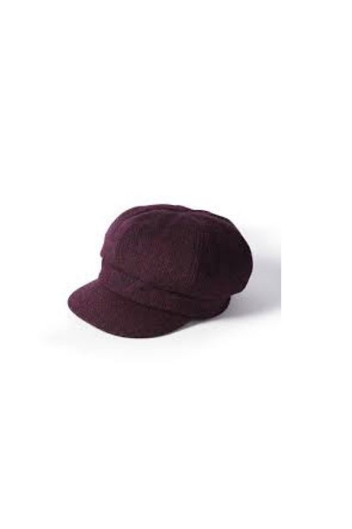 FAILSWORTH LADIES HARRIS TWEED (HT60) DARK PURPLE BAKERBOY CAP
