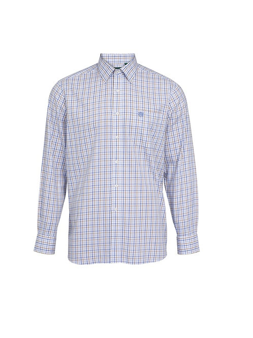 ALAN PAINE ILKLEY BLUE/BEIGE  COUNTRY CHECK SHIRT- SHOOTING FIT