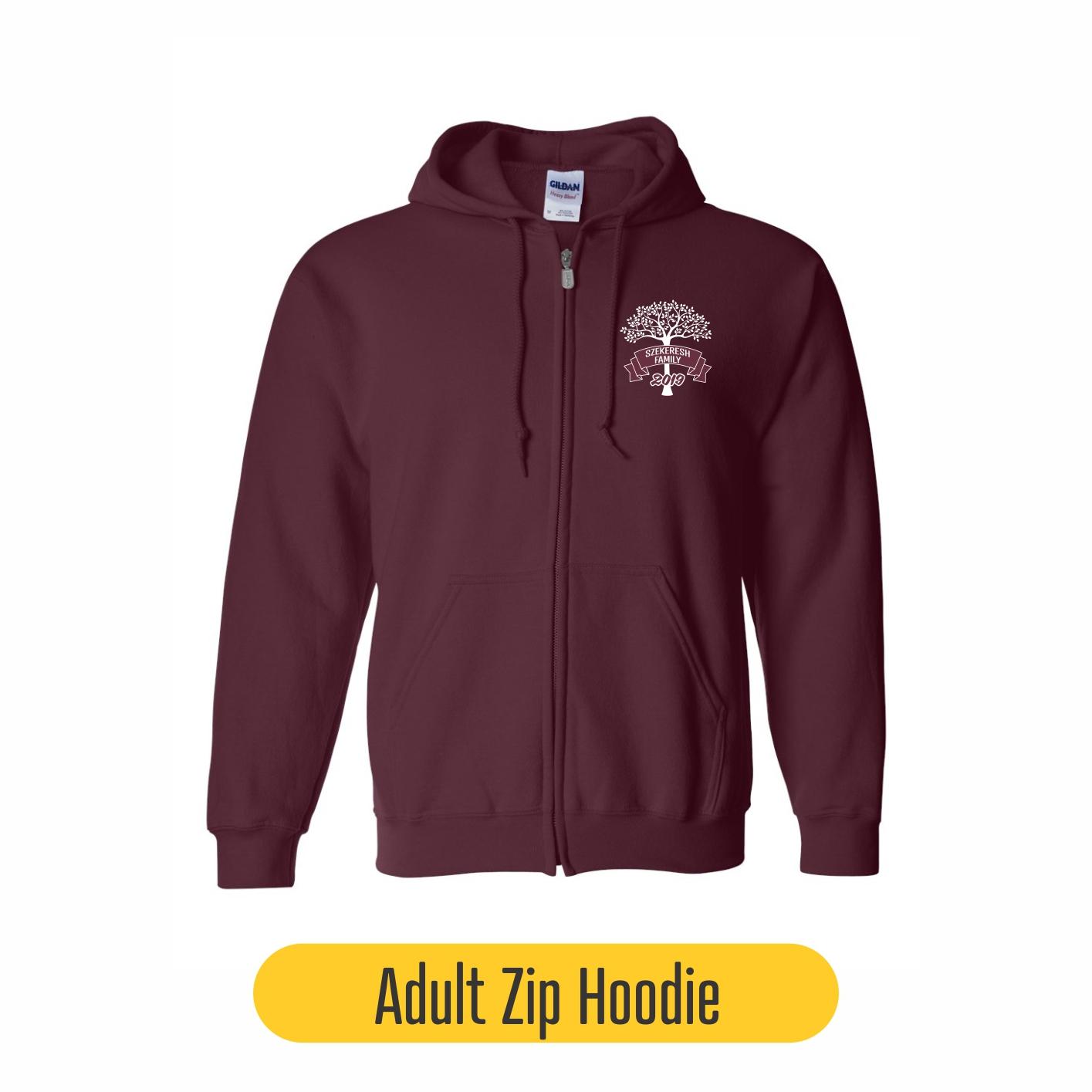 Adult zip hoodie