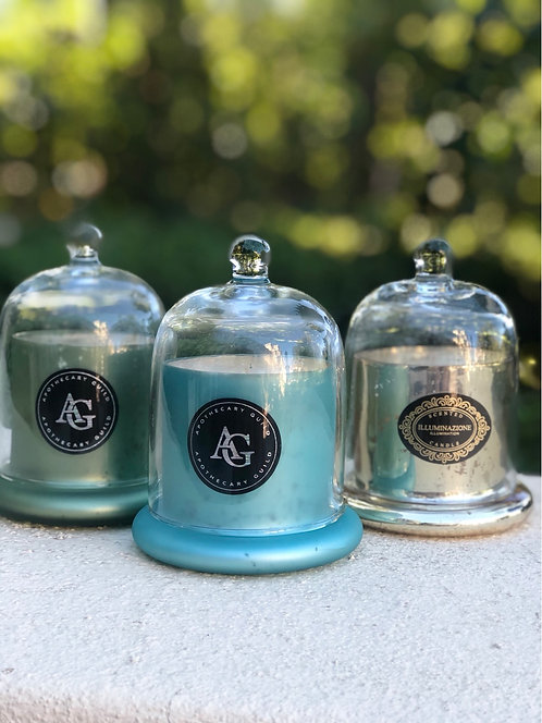 Small Glass Dome Candle -Green/Blue/Gold