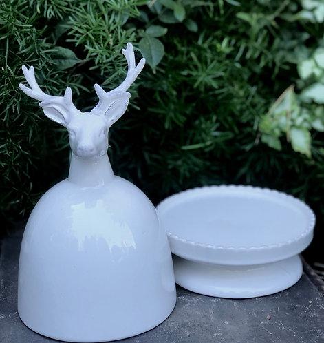 Ceramic Deer Pedestal Plate w/ Dome