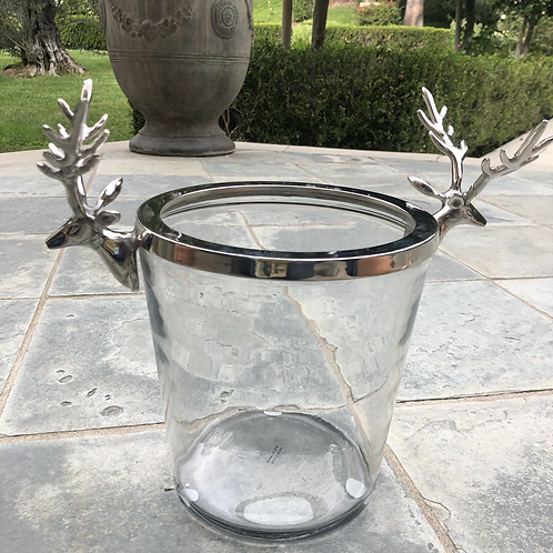 Wine Bucket w/ Stag-Glass w/ Polished Nickel