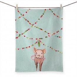 Tea Towel - Festive Pig